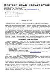 Veřejná vyhláška - Územní plán - Nalžovské Hory ... - Městys Kolinec