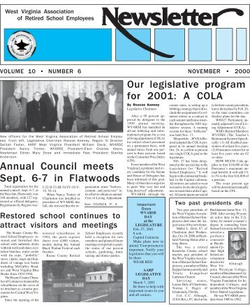 November 2000 edition - West Virginia Association of Retired ...