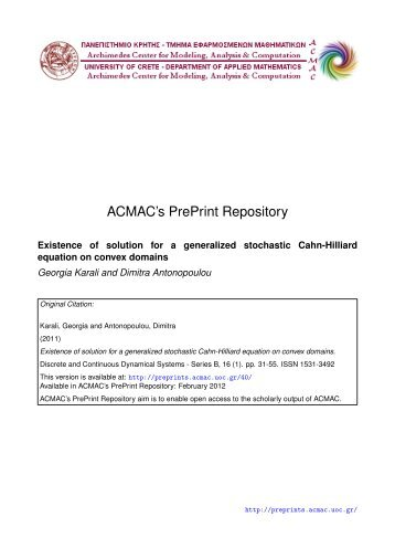 Download (394Kb) - ACMAC's PrePrint Repository