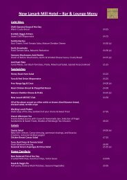 to see our sample bar & lounge menu. - New Lanark Mill Hotel