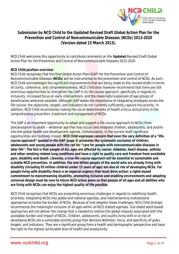 NCD Child Response to the revised Global NCD ... - NCD Alliance