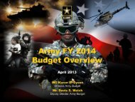 FY14 Budget Overview Briefing - Army Financial Management