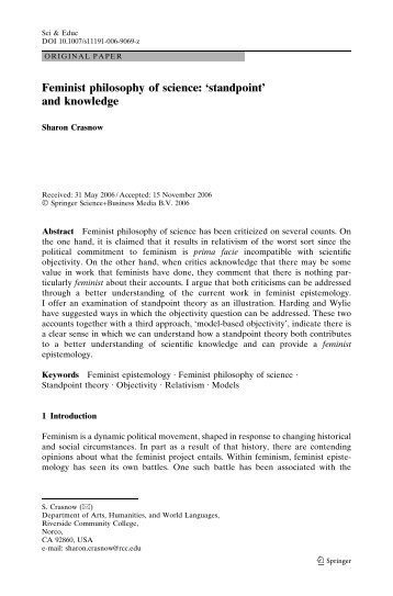 Feminist philosophy of science: 'standpoint' and knowledge