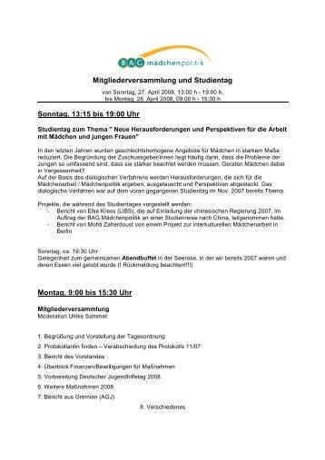 Mitgliederversammlung und Studientag Sonntag, 13:15 bis 19:00 ...
