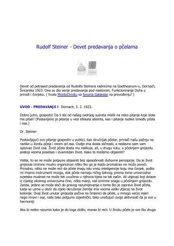 Rudolf Steiner - Devet predavanja o pčelama - Antropozofija