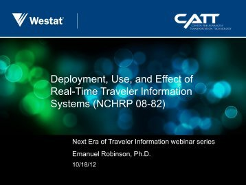 Deployment, Use, and Effect of Real-Time Traveler ... - Enterprise