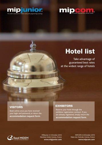 Hotel list - Catalan Films & TV