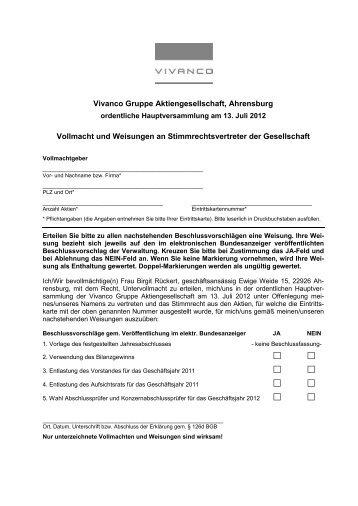 VOLLMACHT und WEISUNGEN HV KAP-AG