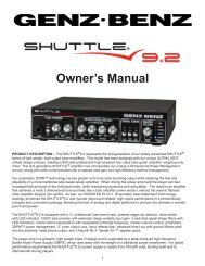 Shuttle 9.2 Owners Manual - Genz Benz