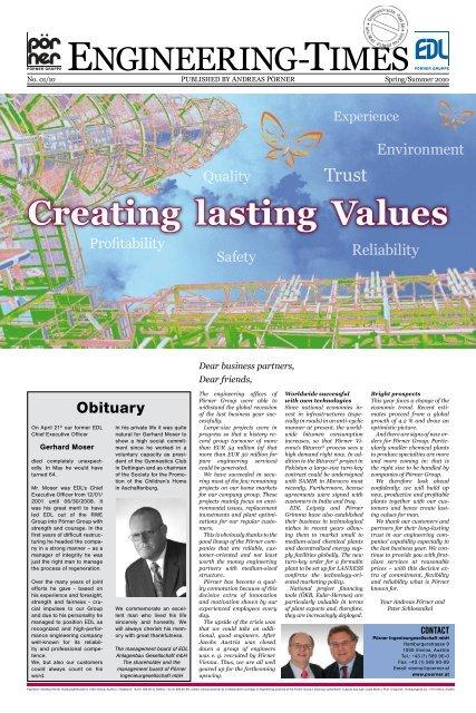Creating lasting Values - Pörner Group