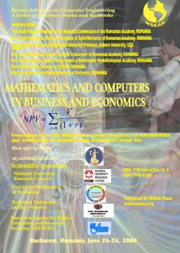 mathematics & computers in business and economics - WSEAS