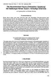 der Salzburger Hohen Tauern: Vorläufige Artenliste