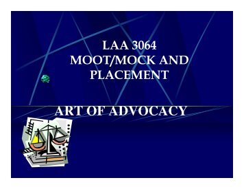 Art of Advocacy Part II