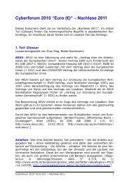 """Cyberforum 2010 """"Euro (€)"""" – Nachlese 2011 - Institut für ..."""