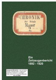 Chronik der Schule Mauer Ein Zeitzeugenbericht 1892
