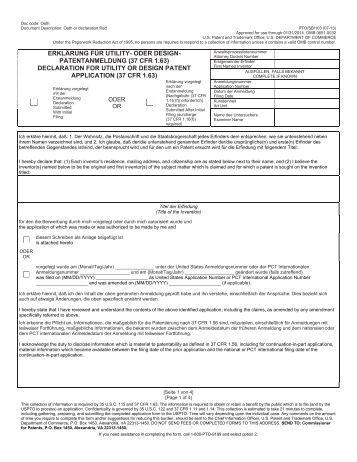 patent erklärung