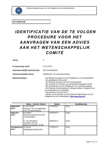 identificatie van de te volgen procedure voor het aanvragen ... - Favv