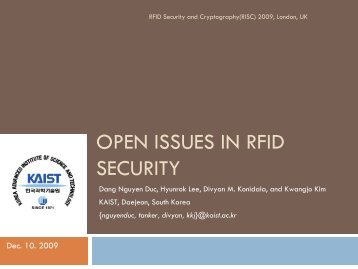 OPEN ISSUES IN RFID SECURITY