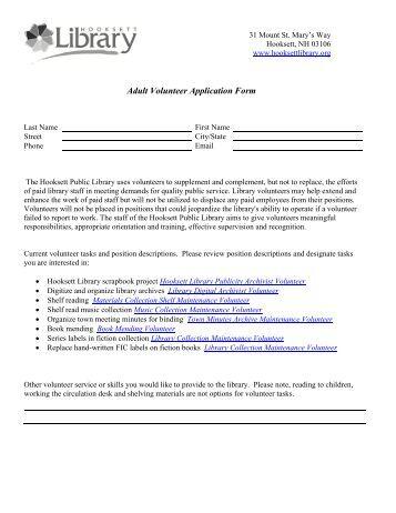 adult-volunteer-application-form-hooksett-public-liry Volunteer Application Form Public Liry on