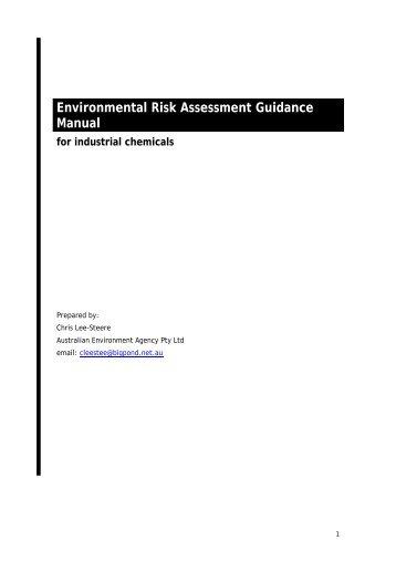 Environmental risk assessment guidance manual for industrial ...