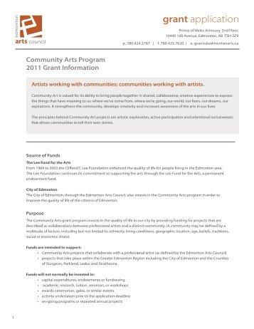 grant application - Edmonton Arts Council