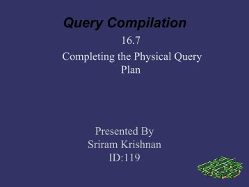 Notation for Physical Query Plan