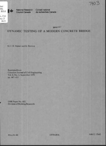 Dynamic testing of a modern concrete bridge - National Research ...