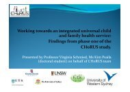 Working towards an Integrated Universal Child and Family Health ...