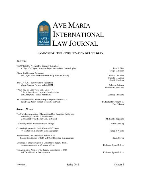 AVE MARIA INTERNATIONAL LAW JOURNAL - Ave Maria School ...
