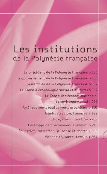 Les institutions de la Polynésie française - Haut-Commissariat de la ...