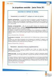 Les jurisprudences essentielles - Janvier/Février 2011