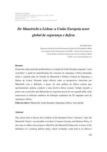 De Maastricht a Lisboa: a União Europeia actor - Europe Direct ...