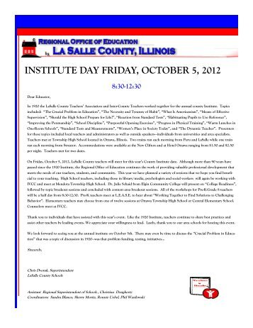 institute day friday, october 5, 2012 - LaSalle County Regional Office ...