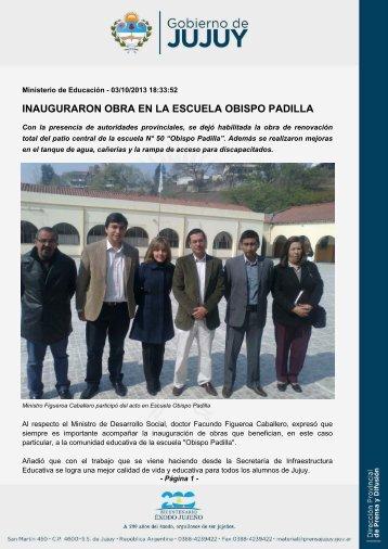 INAUGURARON OBRA EN LA ESCUELA OBISPO PADILLA