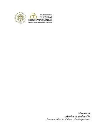 Criterios de evaluación - Estudios sobre las Culturas Contemporáneas