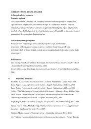 INTERNATIONAL LEGAL ENGLISH A.Okvirni sadržaj predmeta ...