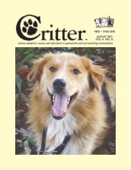 AUGUST 2011 VOL. 4 NO. 12 FREE – TAKE ONE - Critter Magazine