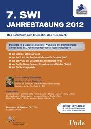7. SWI JAHRESTAGUNG  2012 BONUS - Linde Verlag