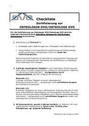 Checkliste Zertifizierung zur OSTEOLOGIN DVO/OSTEOLOGE DVO