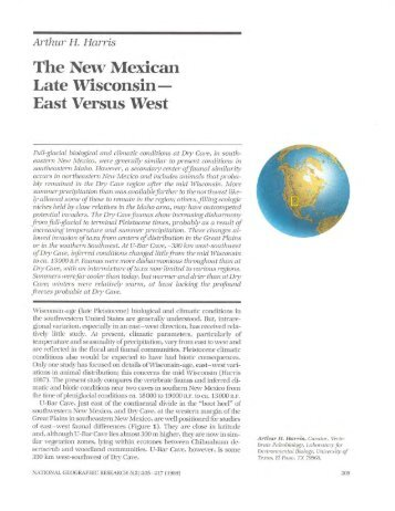 The New Mexican Late Wisconsin East Versus West - University of ...