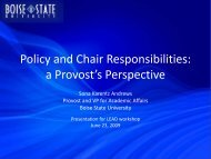 Policy and Chair Responsibilities: A Provost's Perspective (2009)
