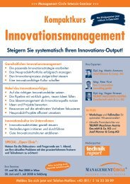 Management Circle Seminar: Kompaktkurs Innovationsmanagement