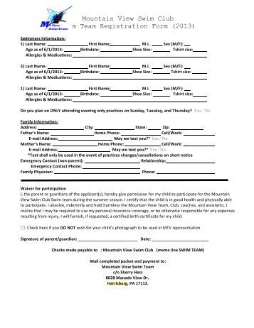 Eac Registration Form Elizabethtown Aquatic Club Eac Swim Team