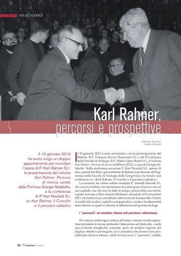 Karl Rahner, percorsi e prospettive