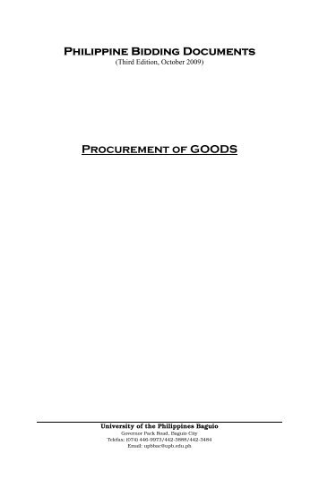Philippine Bidding Documents Procurement of GOODS - UP Baguio
