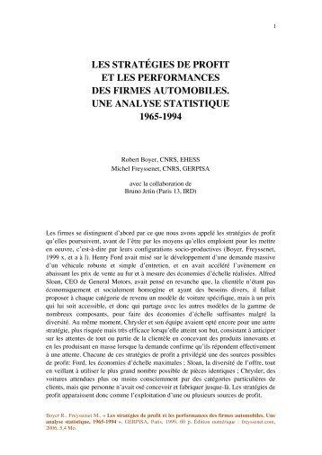 les stratégies de profit et les performances des ... - Michel Freyssenet