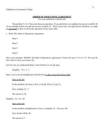 Order Of Operations Agreement Pdf Tallahassee Community