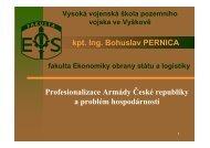 Profesionalizace Armády České republiky a problém hospodárnosti