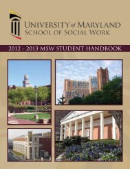 2012 - 2013 msw student handbook - University of Maryland School ...