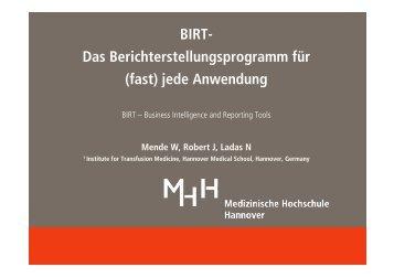 BIRT- Das Berichterstellungsprogramm für (fast) jede ... - DGTI